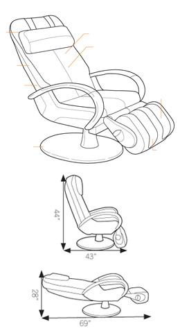Détail des composantes du fauteuil de massage